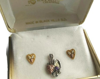 Landstroms Black Hills Gold, Landstrom, Jewelry Set, Heart Pendant, Purple Amethyst, Gold, Heart Earrings, Pendant Necklace, Gifts For Her