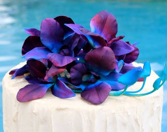 Blue Purple Silk Singapore Orchids Cake flowers