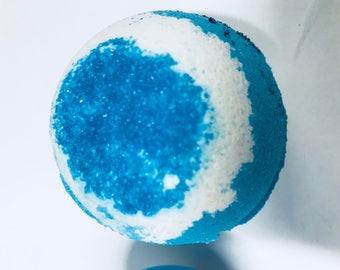 Bath bomb- Blue sugar- Bubbles- Bath fizzy- Moisturizing- Shea butter- Gift for