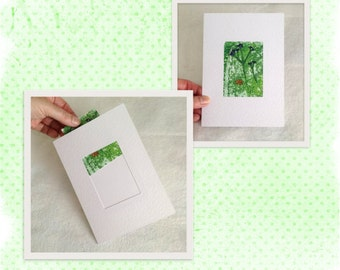 Blank Greeting Card to hold ACEO, ATC Miniature Painting, 7x5 Inch Gift Card suitable for 2.5 x 3.5 Inch Collectors Card, ATC or Art Card