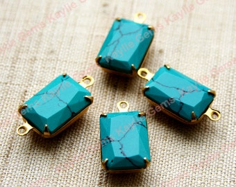 2 Octagon 10x14  Lab Created Turquoise Jewel Set in Raw Brass Prong Setting - 1 Ring / 2 Ring