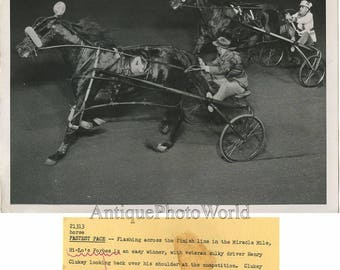 Horse race Henry Clukey in sulky antique photo