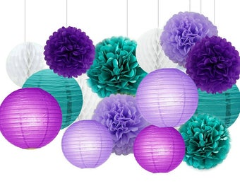 15pcs Mixed Purple Lavender and Teal Blue Tissue Paper Pom Poms Paper Lanterns Honeycomb Balls Birthday Party Wedding Baby Shower Decoration