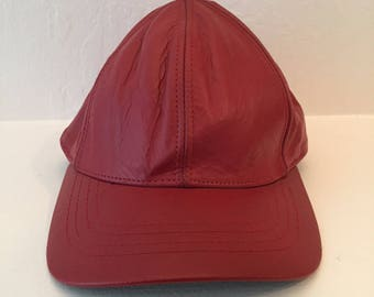 Vintage 80s leather dad hat // made in USA