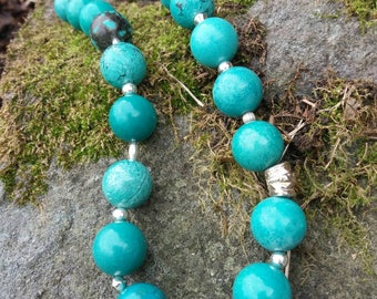 Turquoise, fine and sterling silver necklace