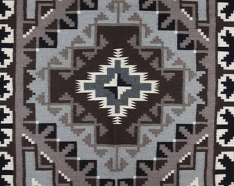 Navajo Weaving : Navajo Weaving From The Two Gray Hills Area by Bernice Phillips #102