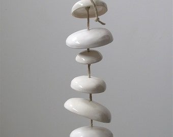 Mudpuppy Moon wind chimes organic hanging disc bells garden sculpture in Gloss White - Half Stack