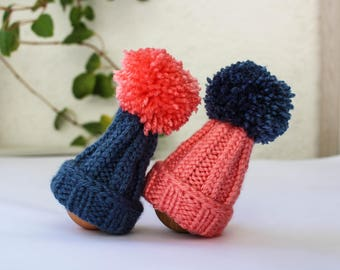 Christmas egg cozies - set of two - pink and navy - pom pom egg hats - knitted home decor - Christmas table centerpiece - housewarming gift