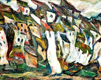 Canvas Print, Painting Musée de l'Orangerie, Paris Art Photography, Photo of Painting, Houses Painting