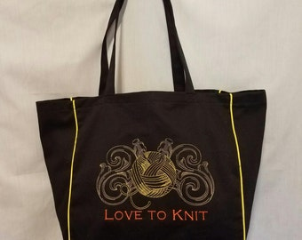 Love to Knit Knitters Tote