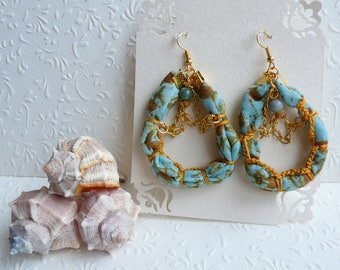 Agate Dangle Earrings, Crochet Statement Earrings, Boho Chic, Gift for her, Unique handmade jewelry, Healing stone