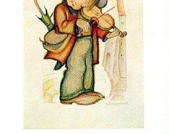 Small Hummel Print with Verse - Little Boy with Fiddle, Old Lady with Cat - 1950 Vintage Book Page - 9 x 6