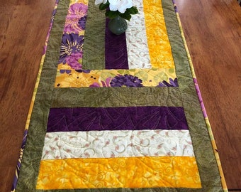 "Spring and Summer Quilted Table Runner - 18.5"" x 51"" Quiltsy Handmade"