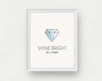 Bright Like a Diamond I | Watercolour Wall Art, Geometric Diamond Print, Black and White, Shine Bright, Motivational Quote, Office Artwork