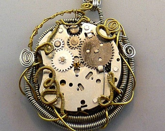 Steampunk Necklace Whimsically Wire Wrapped Vintage Clockwork -- Caught ClockWork