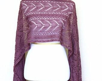 Knit stole, lace shawl, Leola wrap, knitted shawl, knitted stole, wool shawl, mauve shawl