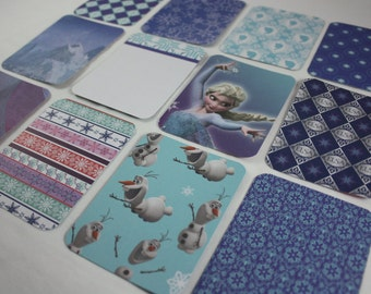 Frozen Journal Cards Elsa Disney Themed  Handmade 3x4 Pocket Page Journaling Cards Scrapbooking  Cards Pack of 12