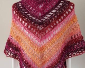 Summer Shawl, triangle scarf,  Crochet shawl
