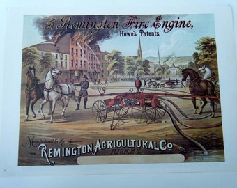 Vintage Advertising Remington Fire Engine and Hoffman House Bouquet Cigar Poster Size Book Plate