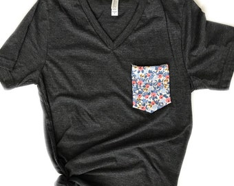 Women's Tshirt, Women's Tank Top, Rifle Floral Pocket Tee