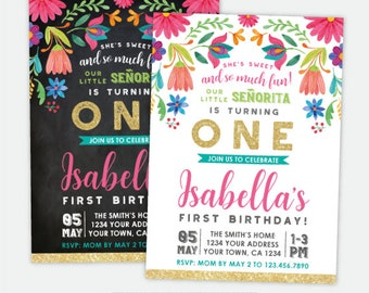 Fiesta 1st Birthday Invitation, Cinco de Mayo First Birthday Party, Little Señorita, Any Age, Personalized Digital Invite, 2 Options