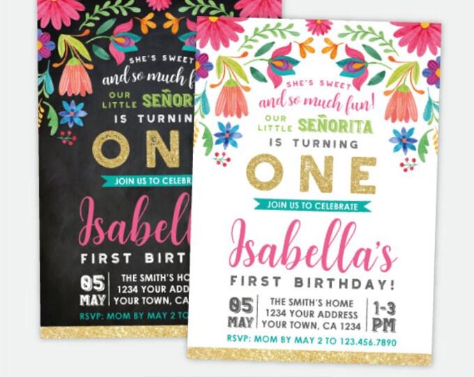 Birthday invitations printer fairy fiesta 1st birthday invitation cinco de mayo first birthday party little seorita any filmwisefo