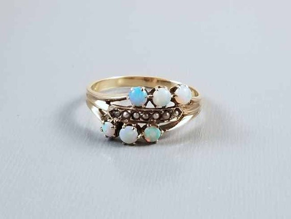 Antique Victorian 10k gold opal and seed pearl three attached bands stacking harem ring, size 7-1/2