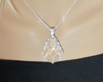 "Crystal Clear German Baroque 50mm (2"") Crystal Pendant Symmetrical Necklace"