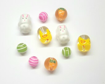 Easter / Spring Glass Beads - Set of 10 - Bunny, Chicks, Carrot, Stripes