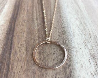 Hammered Circle Necklace, Circle Necklace, Delicate Gold Circle Necklace, Long Circle Necklace, Open Circle Necklace, Karma Necklace
