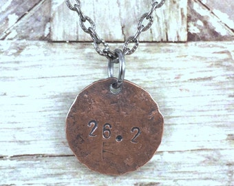 Runners Penny Charm Necklace, 26.2 Marathon Necklace, 26.2 Race Day Necklace, Inspirational Necklace, Gift Idea for Runner, Marathon, Racer