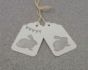 24 Grey Easter Bunny Stamped White Gift Tags with Bakers Twine Mason Jar Tag Birthday Tag Easter Basket Tag