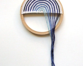 Hand Embroidered Unconventional Waterfall Hoop Art