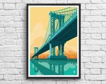 Art-Poster - Brooklyn bridge New-York City  - 50 x 70 cm