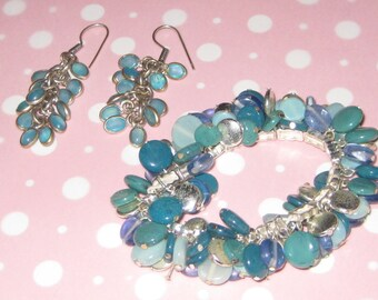 Mid-Century Modern Vintage Cha-Cha Bracelet and Earrings