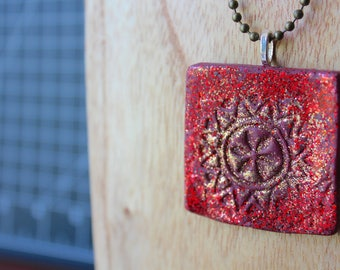 Red and Gold Glitter Polymer Clay Necklace