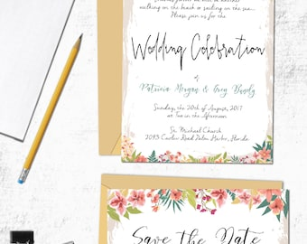Floral Boarder Wedding Invitation Template with Save the Date Card | Digital Download Instant Edit | Multiple Color Flowers