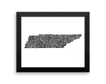 Tennessee typography map art FRAMED print customizable personalized state poster custom wall decor engagement wedding housewarming gift