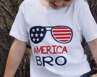 Boys 4th of July Shirt, America Bro Summer Tee, Kids Patriotic Tee, Kids Summer Shirt, Independence Day, Patriotic Shirt, Stars and Stripes