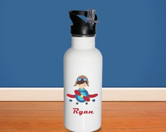 Pilot Kids Water Bottle - Airplane Pilot with Name, Child Personalized Stainless Steel Bottle BPA Free Back to School
