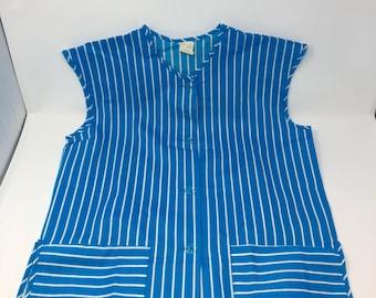 Vintage Bright Blue Striped Full Apron