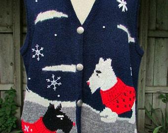 vintage 90s womens scottie dog sweater vest L winter theme snowflakes