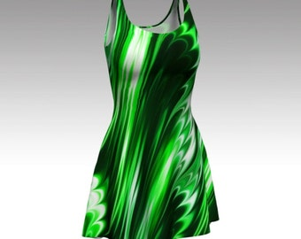 Emerald Dress, Green Dress, Swirl Dress, Green and White, Abstract Dress, Flare Dress, Skater Dress, Bodycon Dress, Fitted Dress, Black