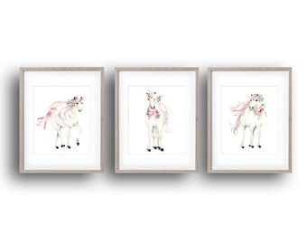 Unicorn Nursery Art Prints, Set of 3, Pink, Flowers, Bow, White Horse, Baby Girl Decor, Unicorn Baby, Whimsical, Fairy Princess, Pony Art