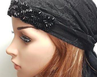 Elegant Black Tichel , Black Head Scarf , Black Women Bandana, Chemo Scarf , Black Head Wrap , Chemo Cap , Hair Covering , Headwear