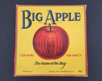 Vintage Game Box and Spinner Big Apple 1938 Rosebud Art Co. Graphics New York Home Decor