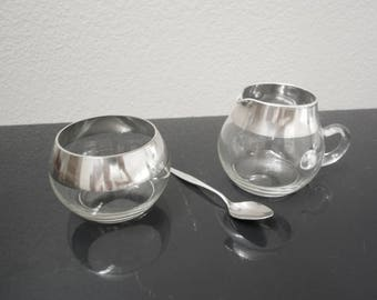 Dorothy Thorpe Silver Rim Sugar Bowl and Creamer