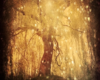 Magical Tree Photo, Hearts Tree, Gold, Fairytale, Fine Art Photography, Bokeh, Dreamy Forest Art, Branches , Forest Home Decor, Woodland Art