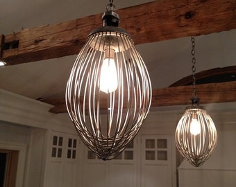 Industrial mixer kitchen chandelier