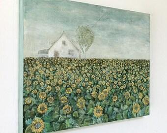 "Acrylic Original Painting  ""Sunflower field house""  On wooden panel   by Tetsuhiro Wakabayashi"